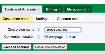 Adwords Conversion Name