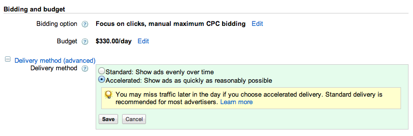 Adwords accelerated budget