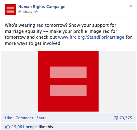 HRC Facebook Post Red Equality Symbol