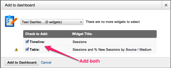 google analytics add both widgets